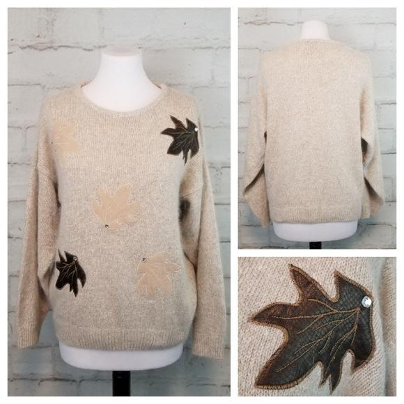 Vintage L Beige Silk Angora Sweater Autumn Leaves